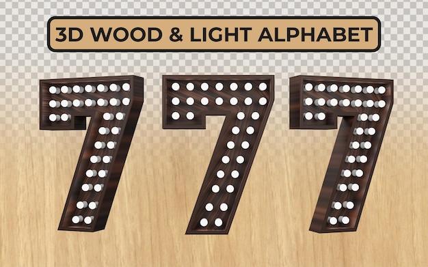 Witte gloeilamp in realistische 3d houten alfabetletters