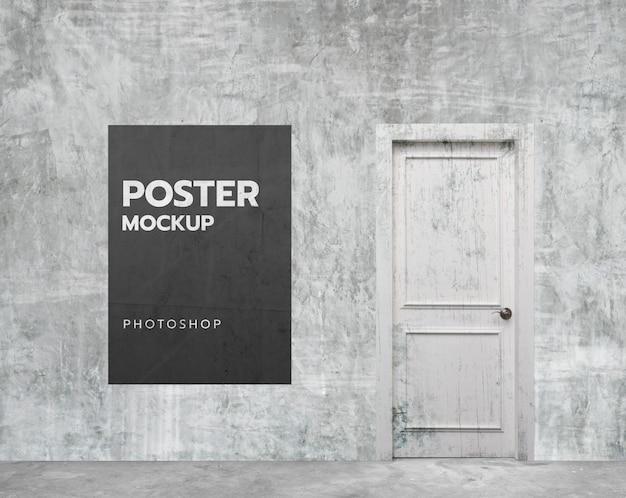 Witte grunge muur kamer poster mockup