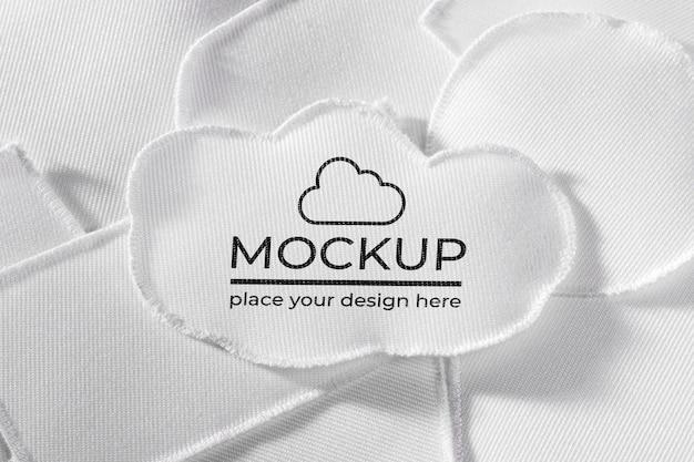 Witte kleding patch textiel mock-up