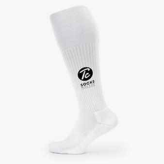 Witte lange sokken mockup voor uw ontwerp