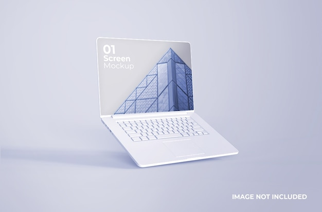 Witte macbook pro clay-mockup
