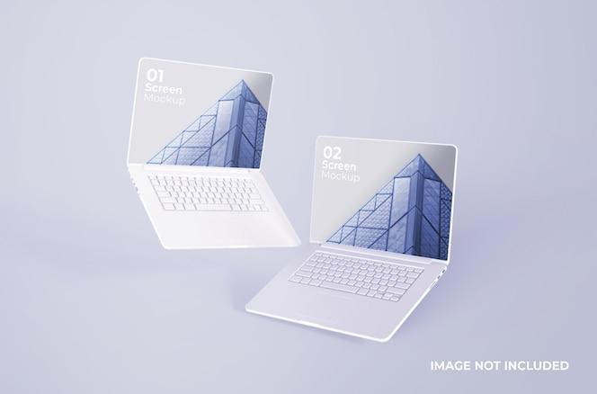 Witte macbook pro clay-mockup
