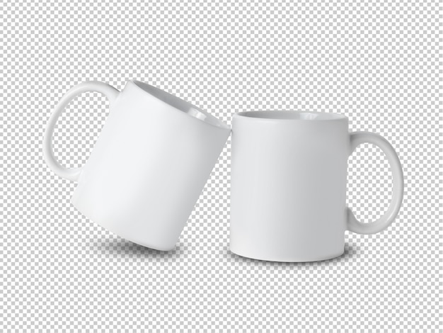 Witte mok cup mockup op transparant.