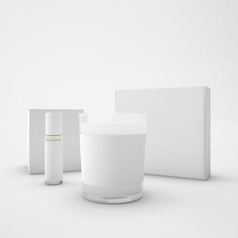 Witte pakketten, kaars en lippenstift