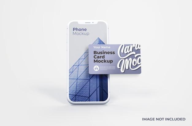 Witte smartphone met visitekaartje mockup