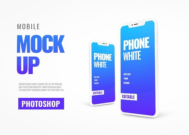 Witte telefoon realistische banner mockup