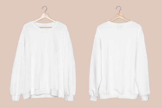 Witte trui mockup psd unisex streetwear kleding