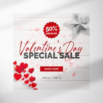 Witte valentijnsdag banner met zilveren ster en harten