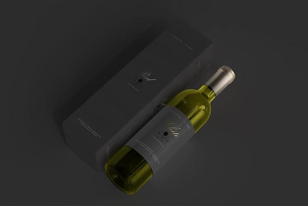Witte wijnfles met doosmodel