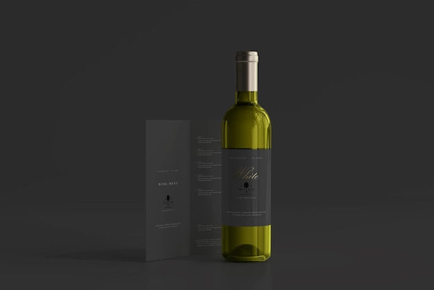 Witte wijnfles met menumodel Premium Psd