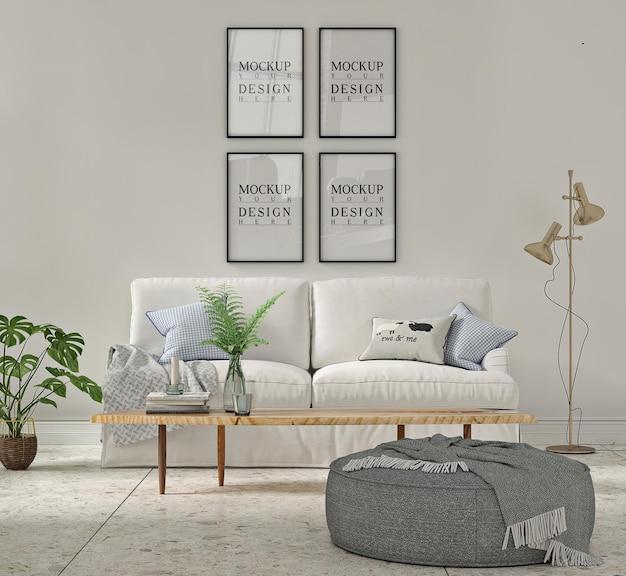 Witte woonkamer met sofa en mockup poster in lijst