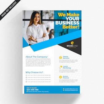 Witte zakelijke flyer met blauwe details