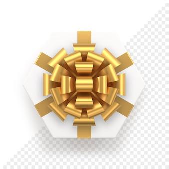 Witte zeshoekige geschenkdoos en gouden boog bovenaanzicht