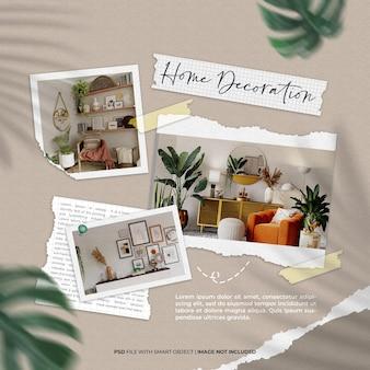 Woondecoratie fotolijst set mockup met gescheurd papier