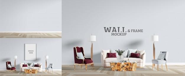 Woonkamer heeft een neoklassieke stijl. mockup voor muur en frame