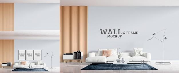Woonkamer heeft een witte bank. mockup voor muur en frame