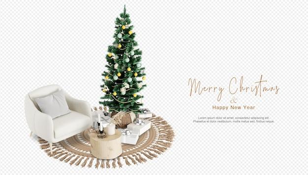 Woonkamer heeft kerstboom en fauteuil in 3d-rendering