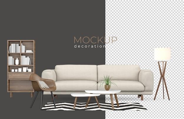 Woonkamer in weergave met modern interieur