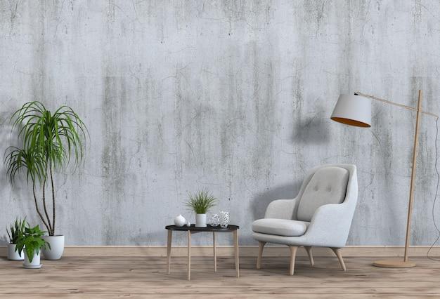 Woonkamer interieur in moderne stijl met fauteuil en decoraties.