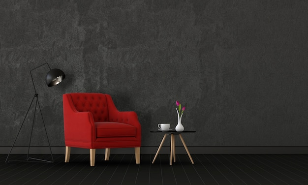 Woonkamer interieur in moderne stijl met fauteuil