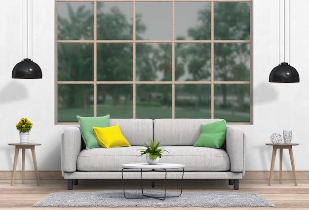 Woonkamer interieur in moderne stijl met sofa en decoraties. Premium Psd