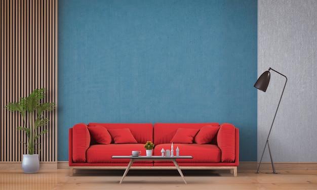 Woonkamer interieur in moderne stijl met sofa en decoraties