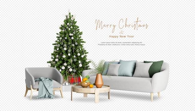 Woonkamer interieur met kerstboom in 3d-rendering
