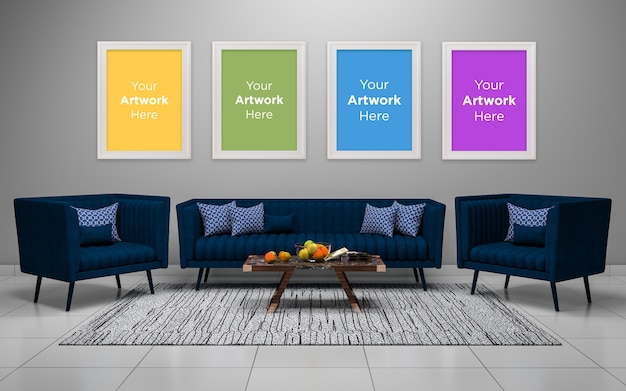 Woonkamer interieur met vier lege fotolijst mockup design
