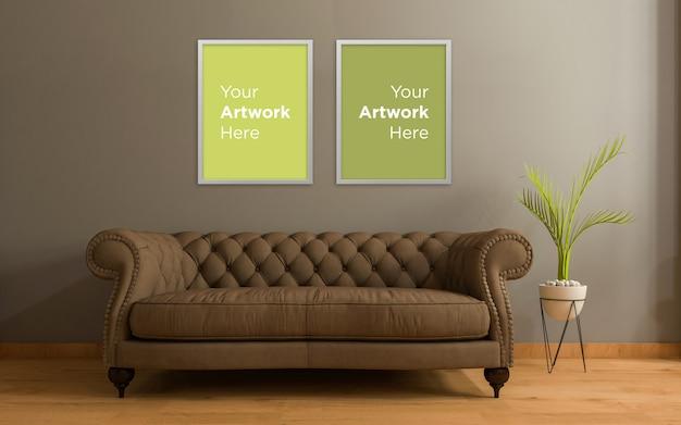 Woonkamer interieur sofa met plant leeg fotolijst mockup design