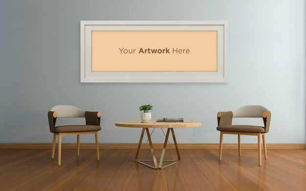 Woonkamer interieur stoel met tafel lege fotolijst mockup design
