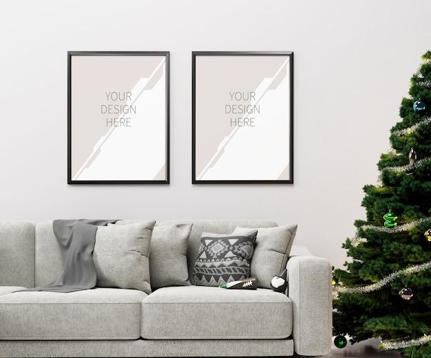 Woonkamer kerstinterieur met frames mockup