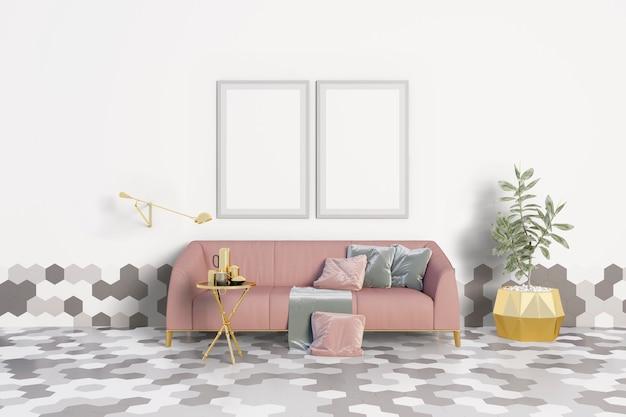 Woonkamer met een roze bank en frames