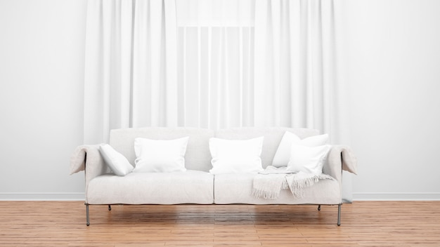 Woonkamer met elegante bank en groot raam met gordijnen. minimaal concept