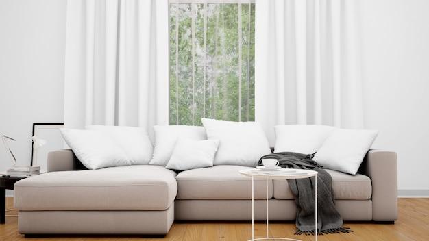 Woonkamer met grijze bank en groot raam