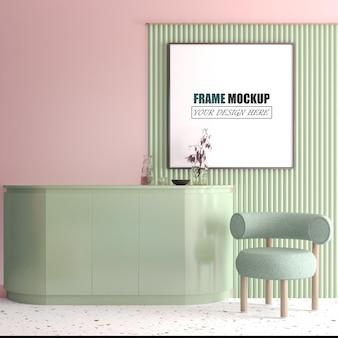 Woonkamer met kleine blauwe stoelen frame mockup