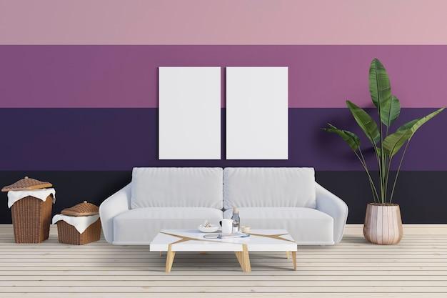 Woonkamer met kleurrijke muur en mockup frame
