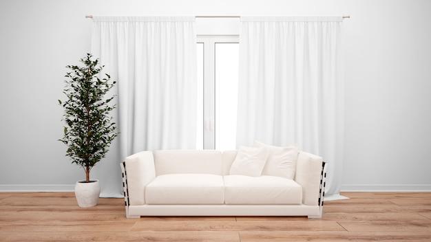 Woonkamer met minimalistische bank en groot raam met witte gordijnen