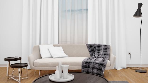 Woonkamer met moderne bank en groot raam
