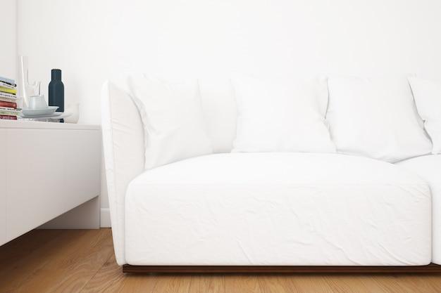 Woonkamer met sofa mockup en decoratie-elementen