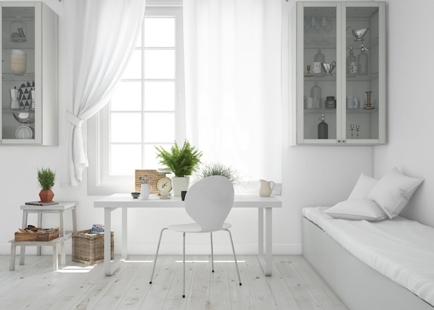Woonkamer met tafel en sofa mockup