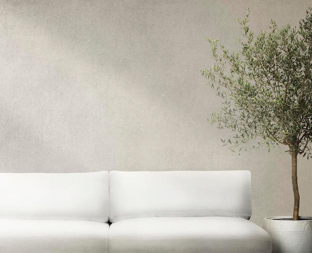 Woonkamer muur mockup psd interieurontwerp