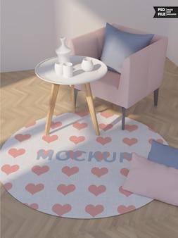 Woonkamer tapijt mockup