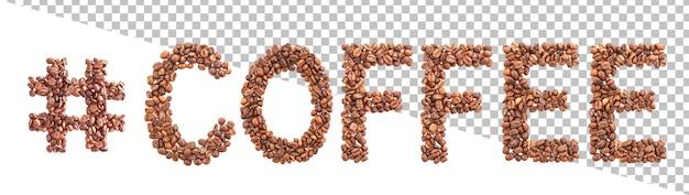 Woord gemaakt van koffiebonen