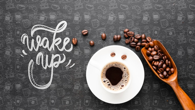 Word achtergrond met kop van koffie wakker
