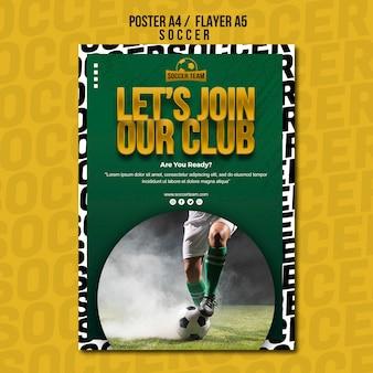 Word lid van de clubschool van voetbal poster sjabloon