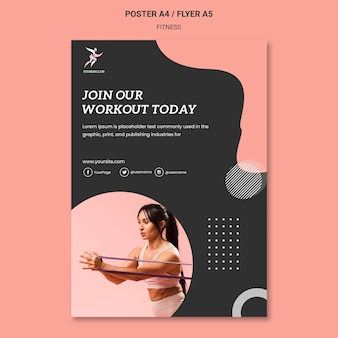 Word lid van fitness workout poster sjabloon