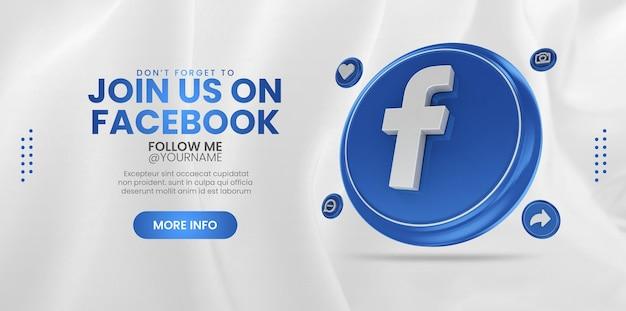 Word lid van ons op facebook voor een banner voor sociale media