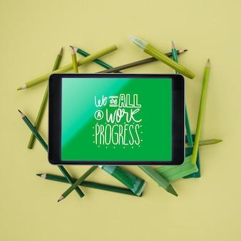 Workart-weergave met elektronisch apparaat