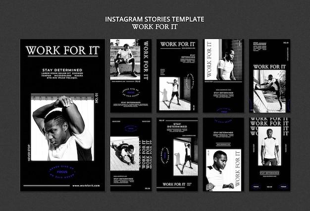 Workout for it plantilla de historias de redes sociales