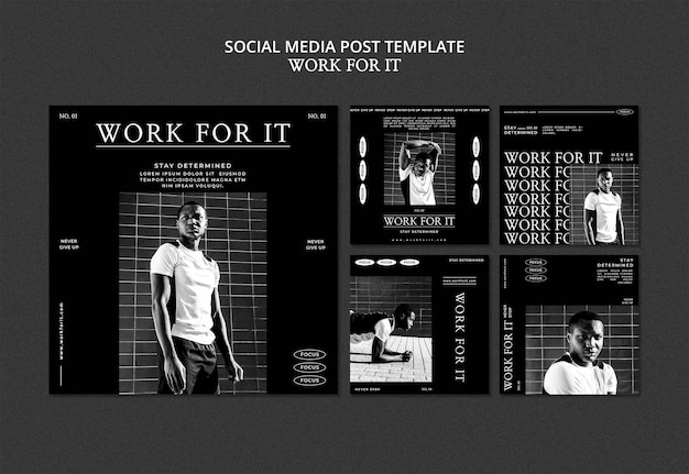 Workout for it plantilla de publicación en redes sociales